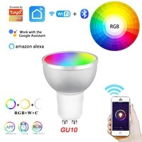 Lampe connectee Tuya  5W  WIFI  LED  RGB  Bluetooth  pour maison connectee  Compatible avec Alexa et Google Home Assistant