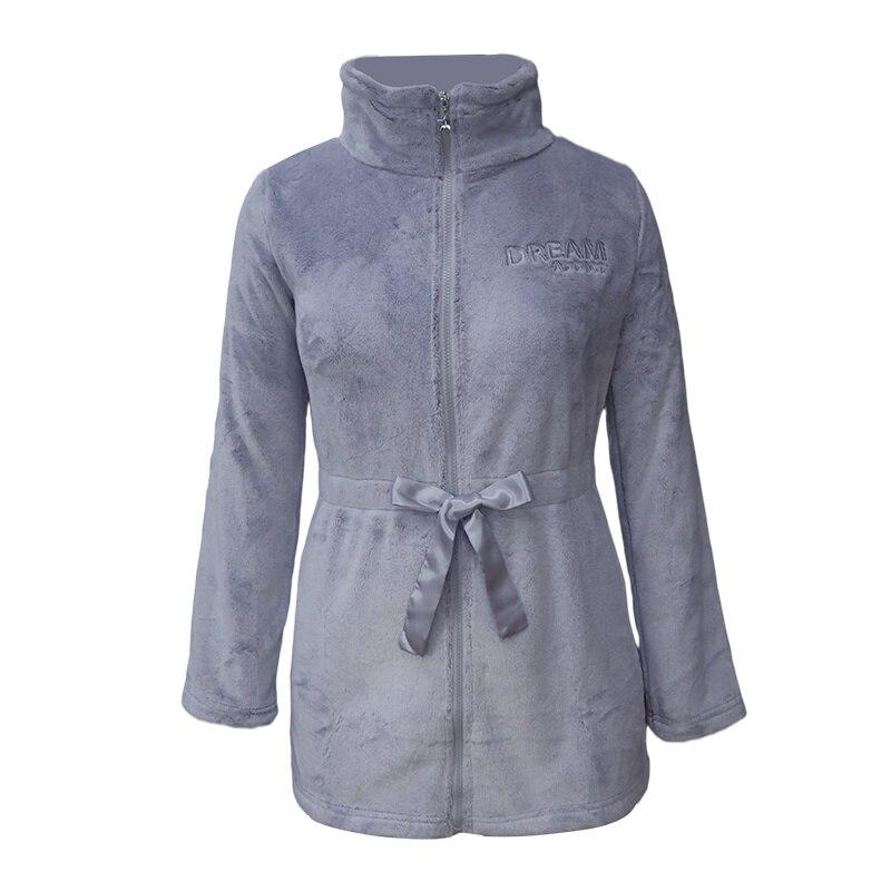 Женский удлиненный флисовый халат на молнии, с лентой и поясом