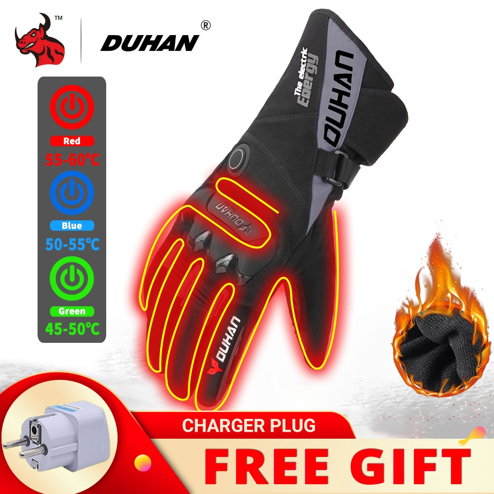 savior heating gloves thickened battery heating warm outdoor gloves motorcycle gloves shatter resistant gloves shell DUHAN Motorcycle Heating Gloves Battery Power Winter Waterproof Heated Gloves Windproof Moto Riding Thermal Gloves Touch Screen