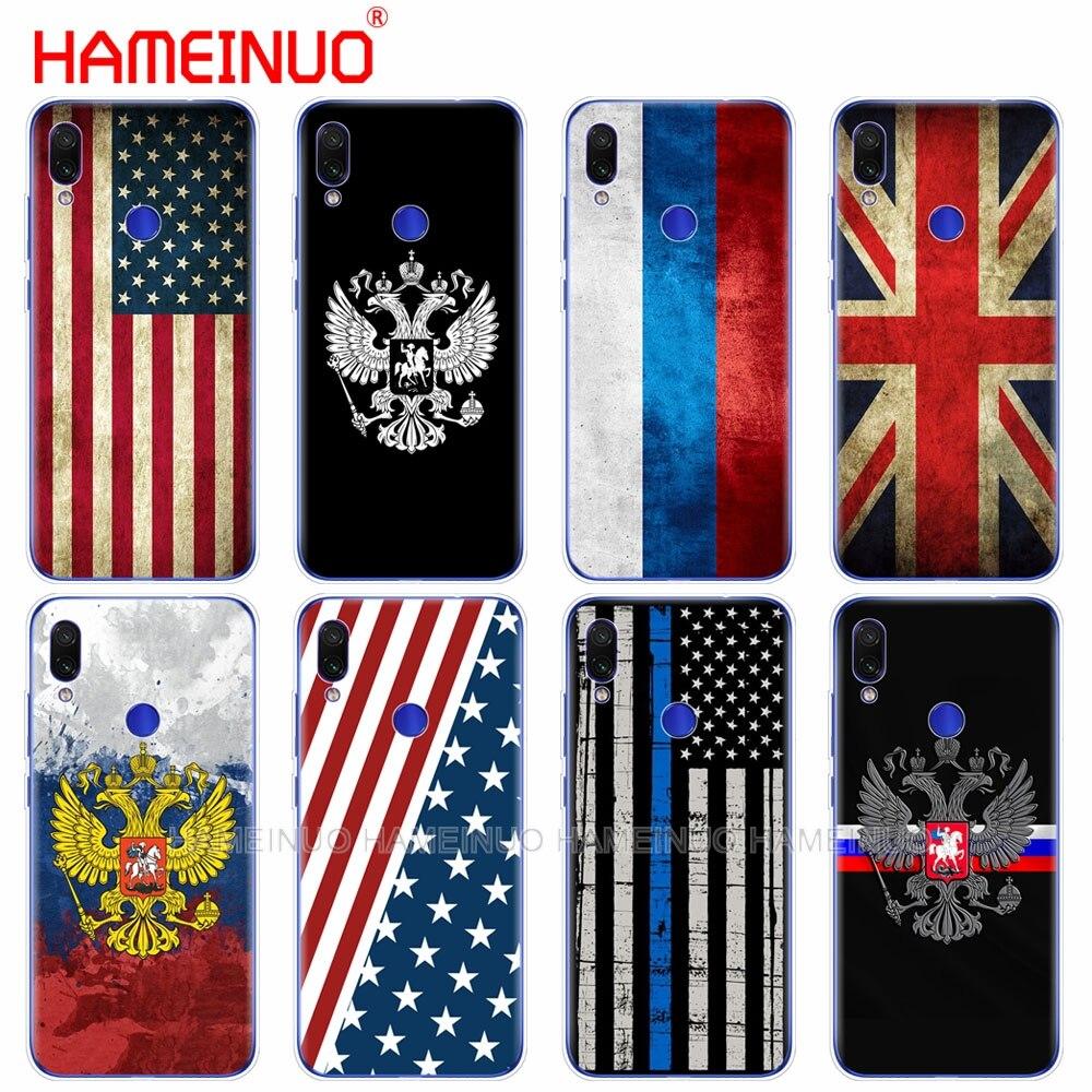 silicon phone cover case for xiaomi mi 9 SE 9t PRO CC9 SE A3 Lite redmi NOET 7 7S PRO 7A go k20 pro y3 Russian British USA flag