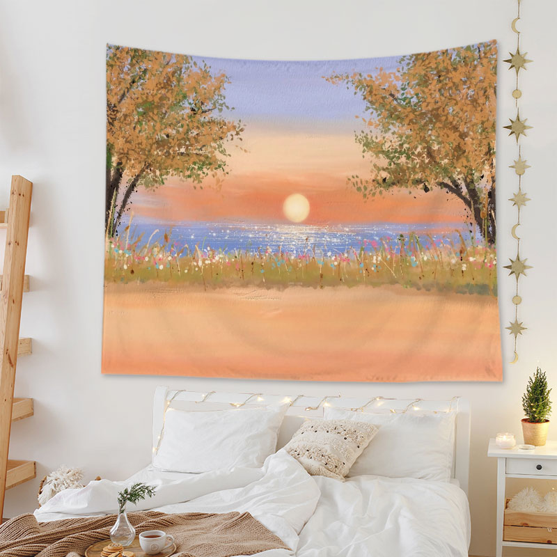 Nordic Beautiful Scenery Tapestry Wall Hanging Decor Home Living Room Oil Painting Sunflower Decorative Background