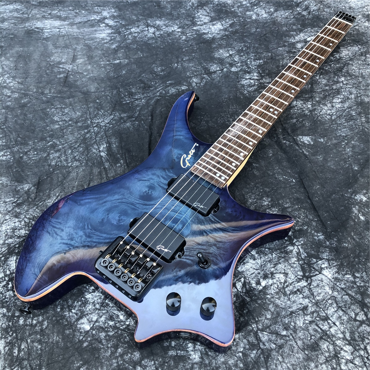 Grote Glossy Blue Burl 6 Strings Headless Electric Guitar with Black Hardwares,Real Photos,In Stock