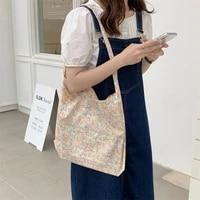 thin cotton shoulder bag for women korean floral student girls casual tote handbags large capacity female canvas shopper bags