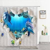 shower curtains ocean dolphin sea world animal waterproof fabric bathroom shower curtain cute fishes large size 240x180 screen