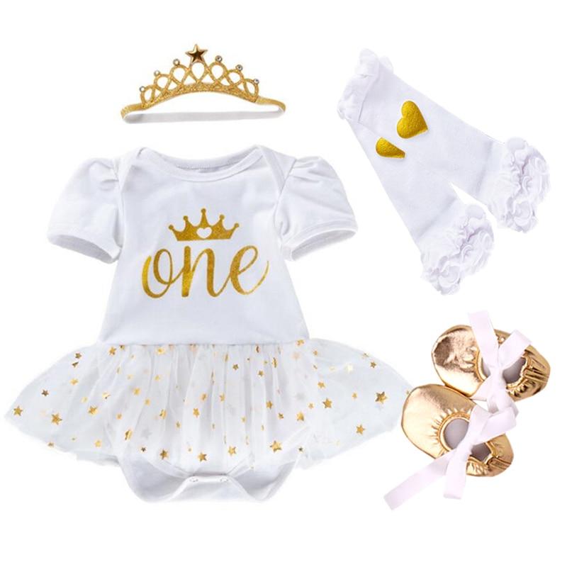 Easter Gift Newborn Clothing Set Baby Girls clothes Cotton Mesh Ruffles bebes Girl Christening Gowns 4pcs 1st birthday Dress Set