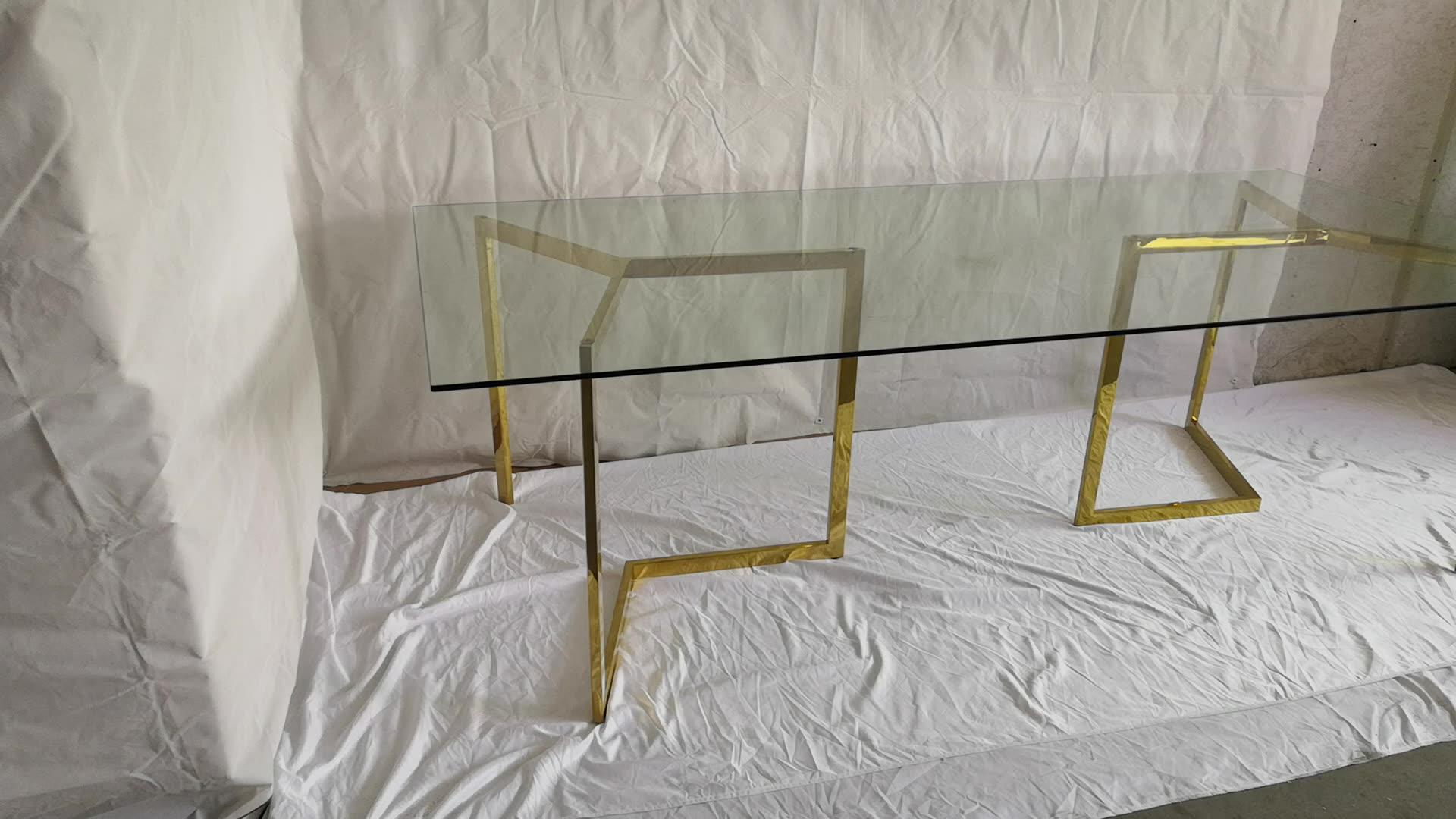 طاولة طعام مستطيلة فاخرة بمرآة 72 بوصة مع منضدة مستطيلة من الزجاج