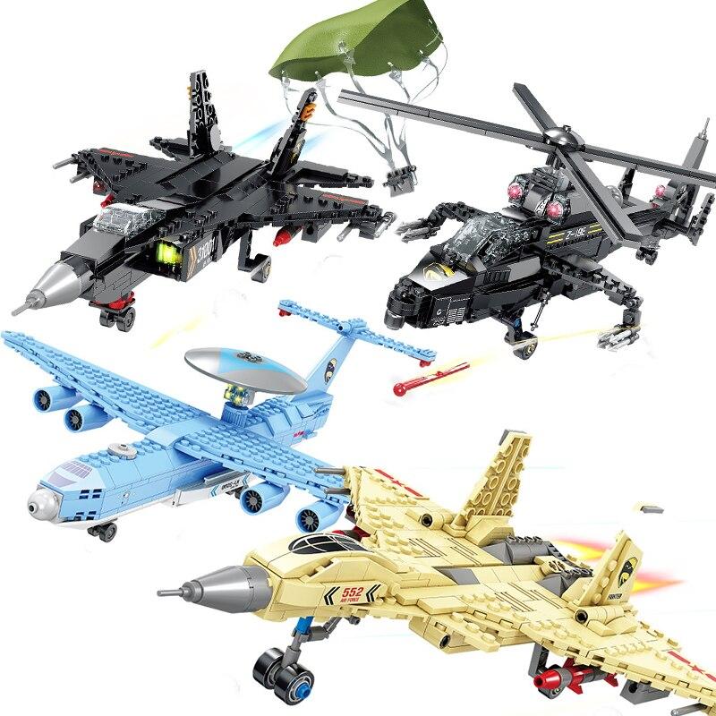 Helicópteros militares SWAT, avión WW2, Bomber Fighter China, modelo de policía, bloques de construcción, juguete para niño