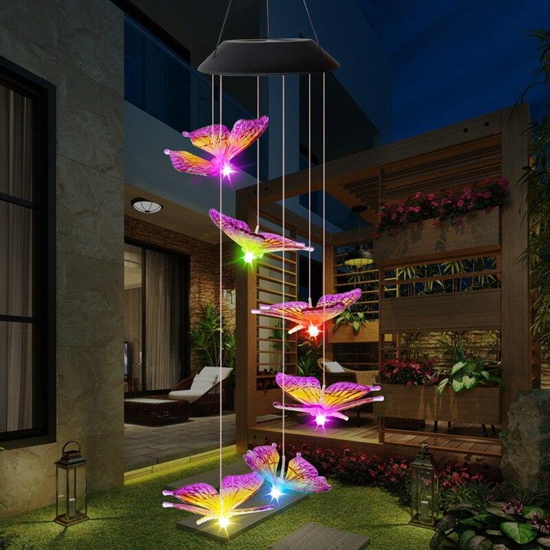 Светодиодный уличный водонепроницаемый колокольчик с солнечной батареей и бабочками