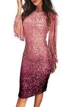 Women Bodycon Pencil Gatsby Dress Fringe Tassel Evening Prom Sequin Midi Ball Gown M-2XL Petal Sleeve Gradation Dresses