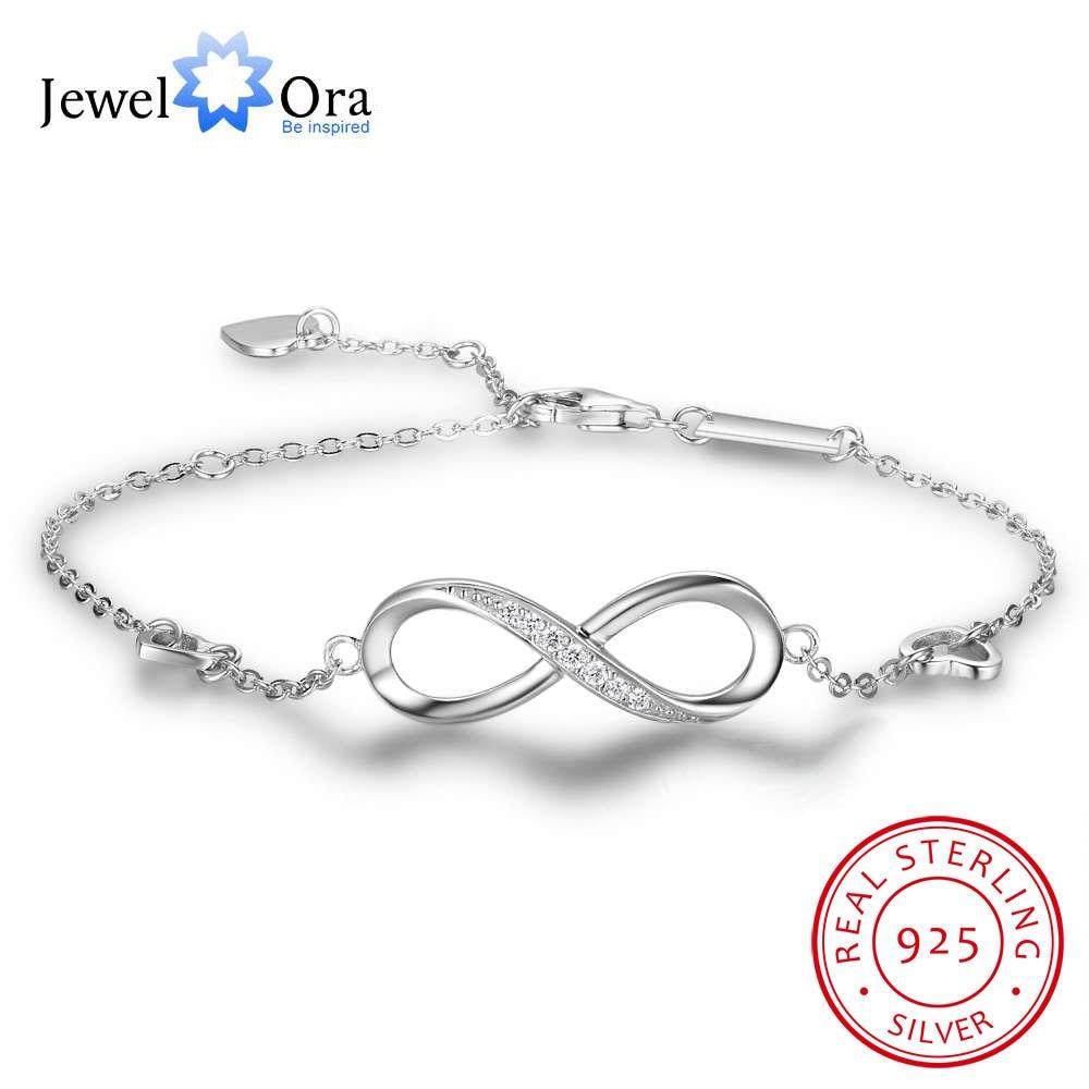 925 prata esterlina infinity pulseiras para mulheres ajustável amizade pulseiras & bangles idéias de presente de casamento (jewelora ba102057)