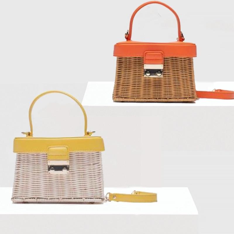 ZA جديد الصيف الروطان حقائب خشبية اليدوية عطلة الشاطئ Crossbody بالي الفاخرة العلامة التجارية حقائب للنساء 2021 الوجه غطاء الاكريليك