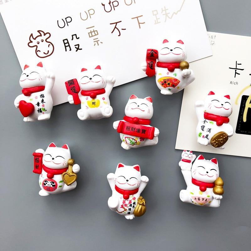 8 pçs japão gatos sorte geladeira ímãs dos desenhos animados gatinho animais quadro branco adesivo geladeira criança mensagem post casa decoração