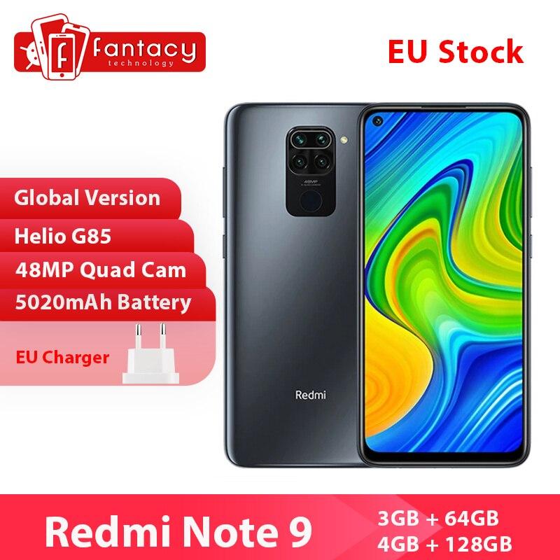 Перейти на Алиэкспресс и купить Глобальная версия Xiaomi Redmi Note 9 смартфон NFC 64 Гб 128 Helio G85 6,53 48MP AI Quad камера Note9 мобильные телефоны 5020 мАч