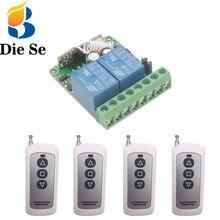 433MHz télécommande universelle rf relais 12V 10A 2CH récepteur et émetteurs pour Garage porte lumière moteur bricolage sans fil commutateur
