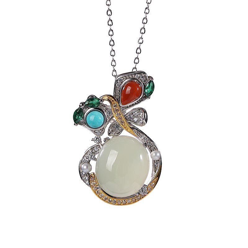 S925 sterling silver Hetian jade southern red agate Turquoise Pearl graceful personality ladies' pendant