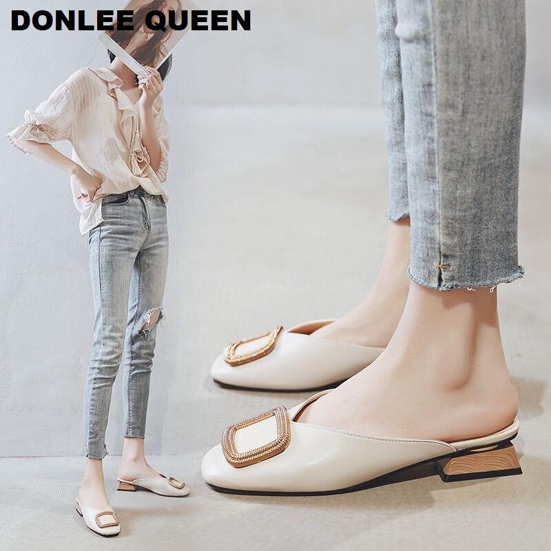 2020 модные тапочки; Женские слипоны; Повседневная обувь на низком каблуке; Тапочки на квадратном каблуке в британском стиле; Летняя обувь