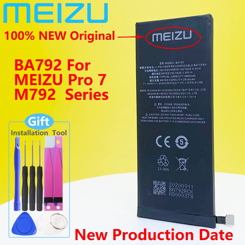 Meizu 100% Original 3000mAh BA792 New Battery For Meizu Pro 7 M792Q M792C M792H BA791 PHone High Quality+Tracking Number недорого