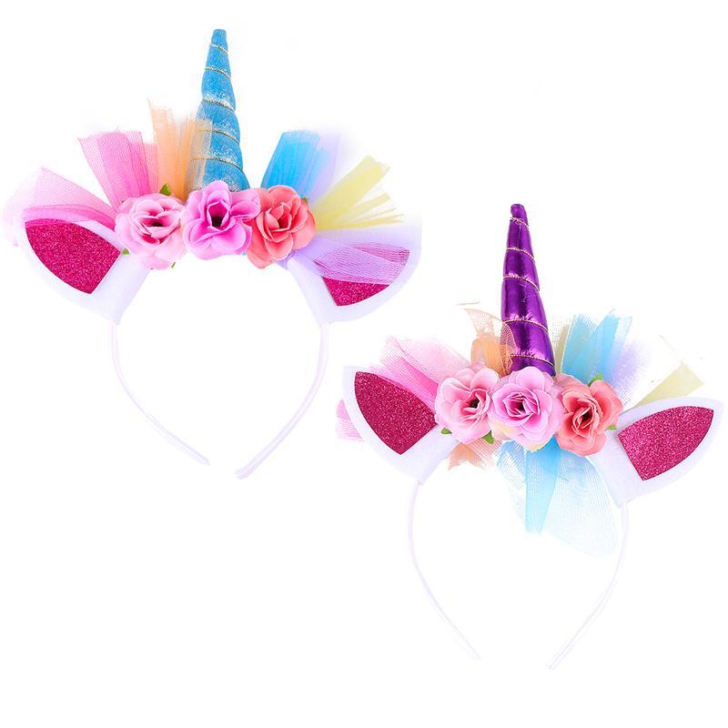 2 uds unicornio accesorios para el cabello fiesta para niñas niños vinchas de malla de flores orejas de gato colorido unicornio con flores purpurina tocado