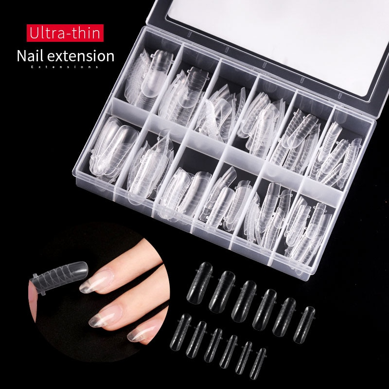 120 stücke Falsche Nägel Schnell Poly Gel Gebäude Mold Form Finger Erweiterung Tipps Für Maniküre Faser Nail art UV Builder polygel Werkzeuge