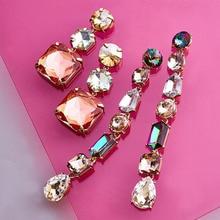 FASHIONSNOOPS New Colorful Big Brand Design Luxury Starburst Pendant Crystal Long Drop Earrings Gem Statement Earrings Jewelry