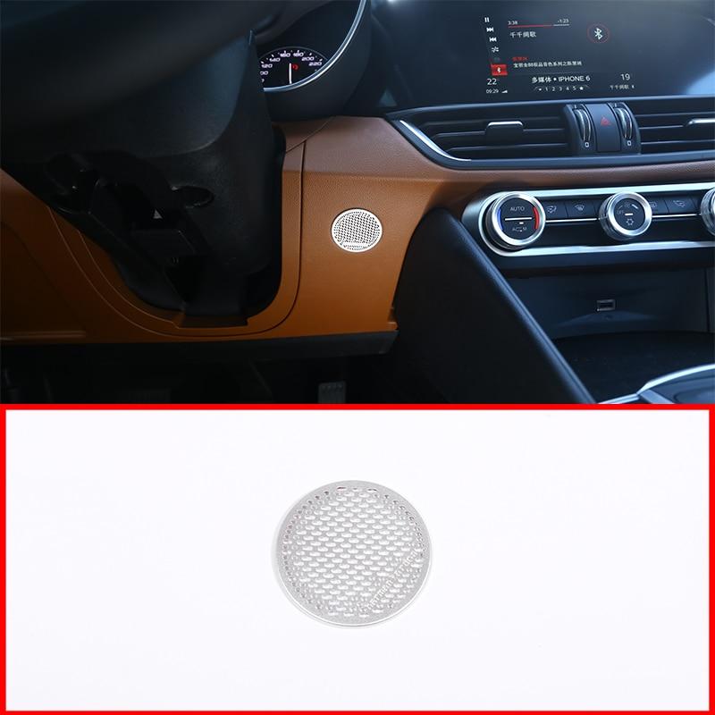 Cubierta de altavoz cromada de aleación de aluminio, 1 Uds., embellecedor para Alfa Romeo Giulia 2017, accesorios para coche