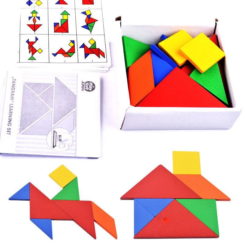 Quebra-cabeças de madeira para crianças, brinquedo educativo, 32 peças, quebra-cabeças diy, brinquedos para crianças, jogos de tangram, montessori