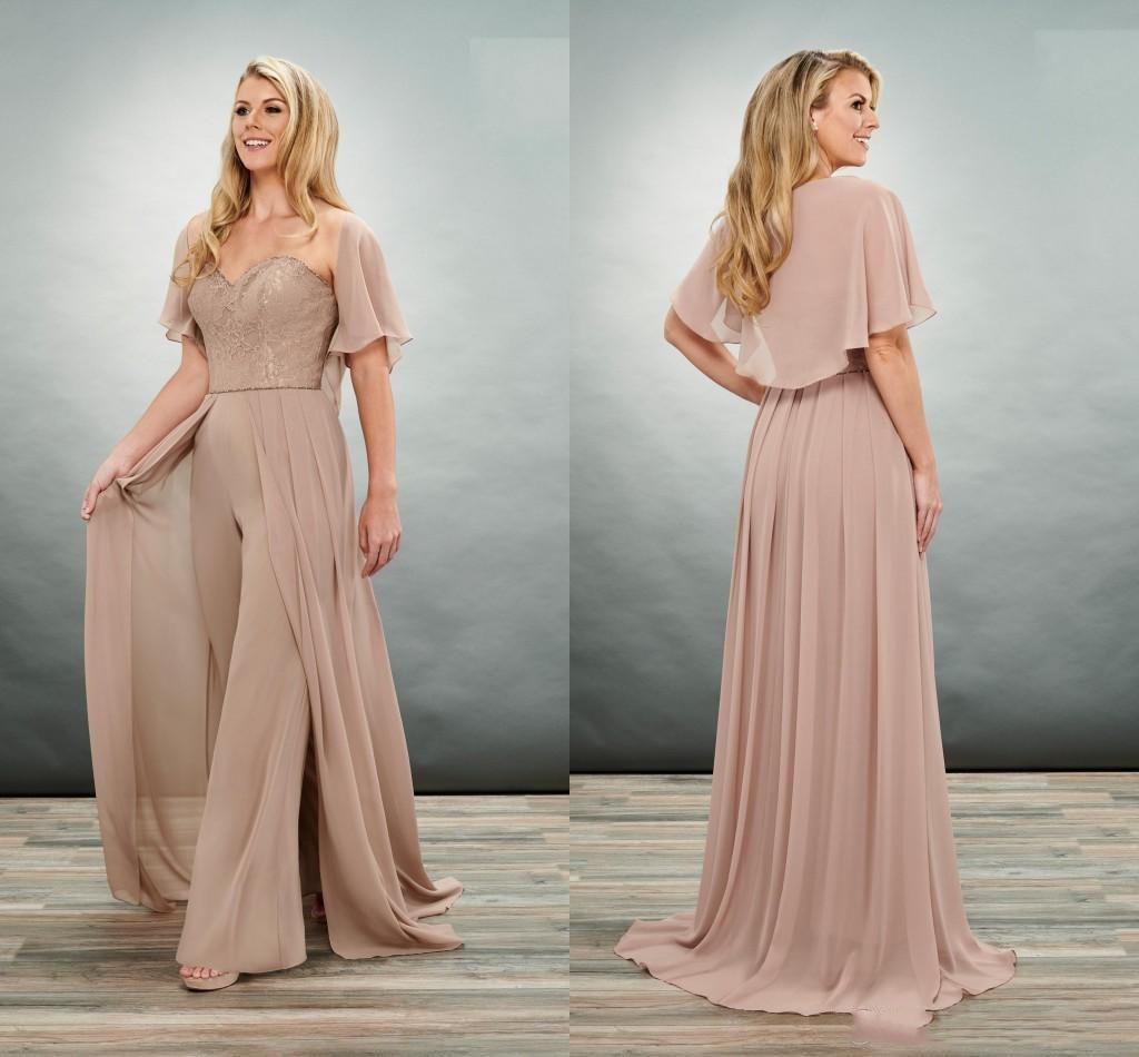 Unique Brown Mother Of The Bride Groom Jumpsuits Pant Suits Sweetheart Lace Shawl Chiffon Evening Fo