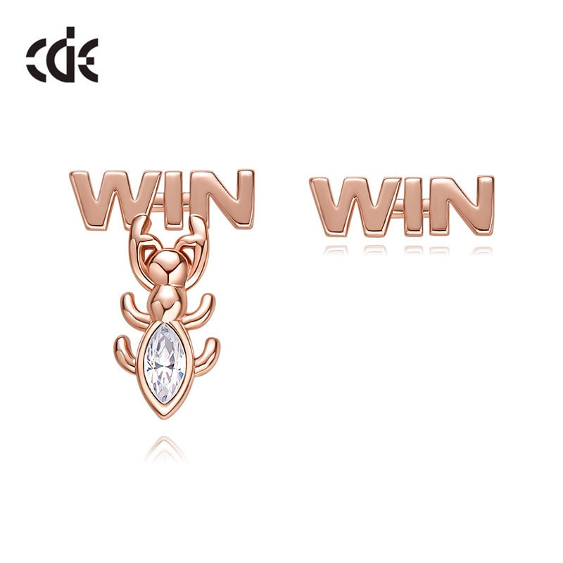 CDE, joyería bonita para mujeres, WIN, pendientes de tuerca de hormiga con cristal de Swarovski, pendientes asimétricos de cobre de Color oro rosa para regalo