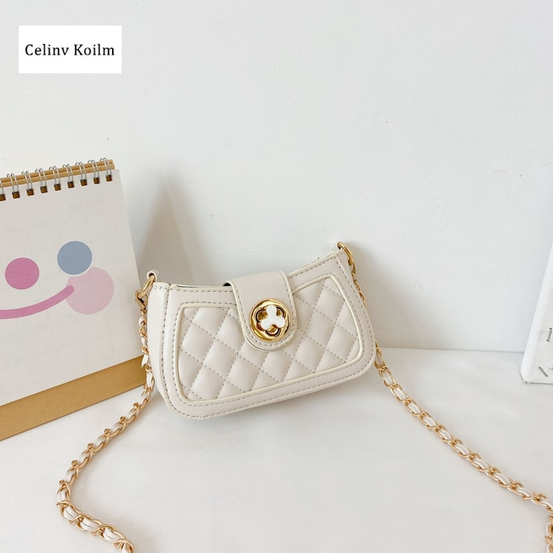 Celinv Koilm Trendy Fashion Children's Fashion Rhombus Chain Small Shoulder Bag Western Style Cute Baby Mini Parent-Child Bags