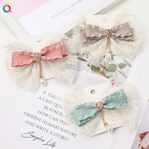 Teens Girls Princess Lace Bow Hairpins Yarn Clips Barrettes For Women And Kids Headwear Korean Style