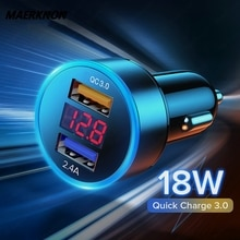 18W Fast Car Charger Dual USB For iphone 12 Xiaomi redmi Samsung Quick Charge 4.0 QC 3.0 Fast Adapte