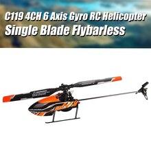 2020 novo c119 4ch 6 eixos giroscópio flybarless rc helicóptero com controle remoto de cristal líquido rtf 2.4ghz atualizar editio
