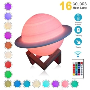 3D Printing Saturn Lamp Bedroom Desk Home Decoration Kids Gifts USB Rechargeable LED Night Light with Remote Controller