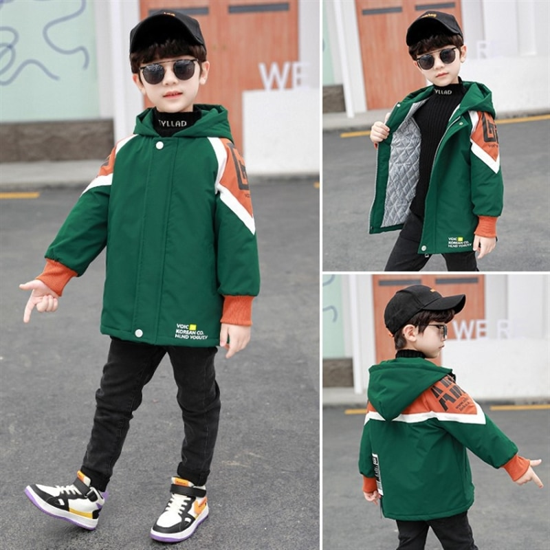 Boys' autumn and winter clothes coat handsome medium and large children's children's garment quilted tops thickened trench coat enlarge