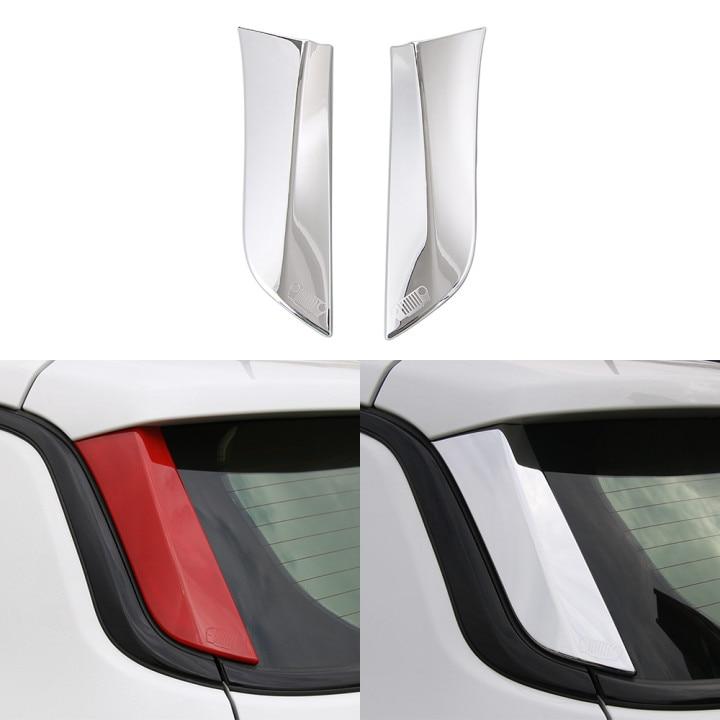 Para jeep compass 2017 + estilo do carro traseiro brisa decoração guarnição adesivos abs chrome/vermelho decalque acessórios interiores do carro