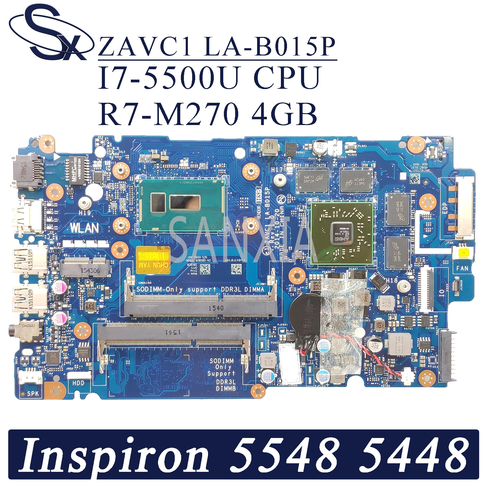 KEFU ZAVC1 LA-B015P اللوحة الأم لأجهزة الكمبيوتر المحمول ديل انسبايرون 15-5548 5448 اللوحة الرئيسية الأصلية I7-5500U R7-M270 4GB