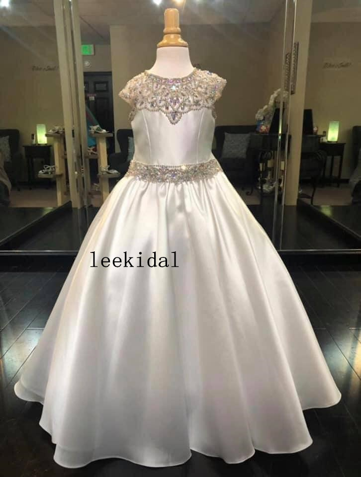 Luxury Crystal A line Flower Girls Dresses For Wedding Birthday Party Sequin Beaded Satin Crystal Short Sleeves First Communion