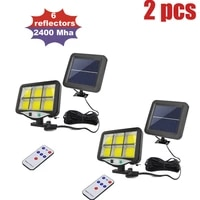 2pcs outdoor solar powered street waterproof wall lights motion sensor garden security lamp remote 3 modes seperable 5m cable