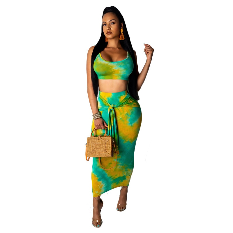 Cropped Skirt and Top Set Women 2 Piece Tie Dye Summer Suit Matching Lounge Wear Plus Size Fashion Sexy Clothing