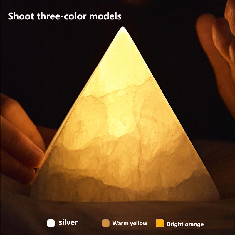 USB Pyramid Ore Charging Induction Creative Night Light Ins Nordic Bedside Table Lamp Romantic New Strange LED Lamp Lava Lamp