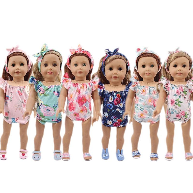 Traje de baño de muñeca flor 2 unids/set apto para 18 pulgadas americano y 43Cm bebé recién nacido, generación, cumpleaños niña rusa DIY juguete regalo