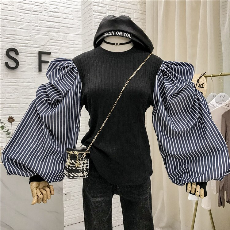 IHOBBY tira Patchwork tejido suéter coreano falso dos piezas Color sólido burbuja manga cuello redondo blusa