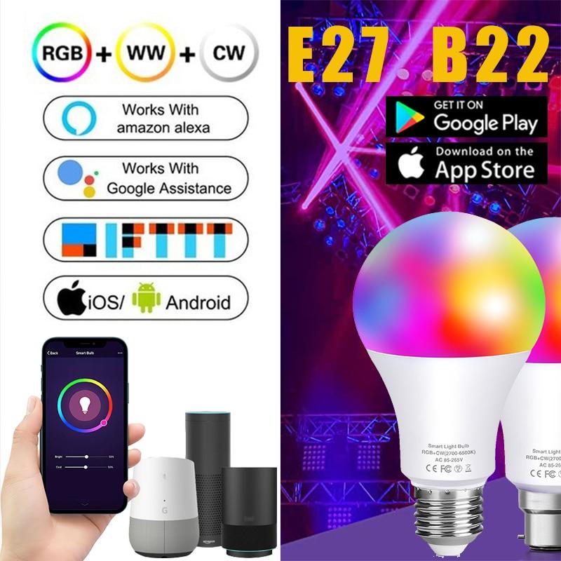 Bombillas inteligentes WiFi Alexa para el hogar, luces con retroiluminación colorida regulable...