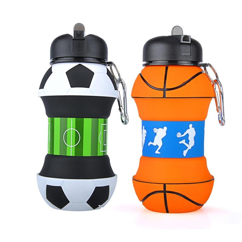 ¡Novedad de 2019! Creativa botella de agua de plástico para deportes de Fútbol, con pajita, ecológica, a prueba de goteo, botella portátil plegable para beber, 550ML