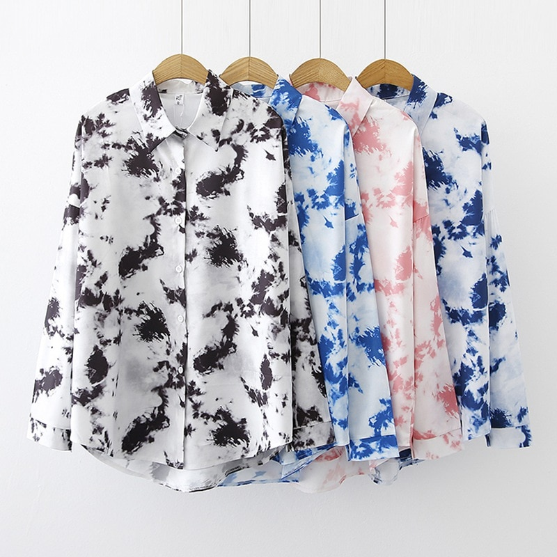 Women's Tie-Dyed Shirts Autumn Casual Fashion Loose Leisure Long Sleeve Blouse Tops