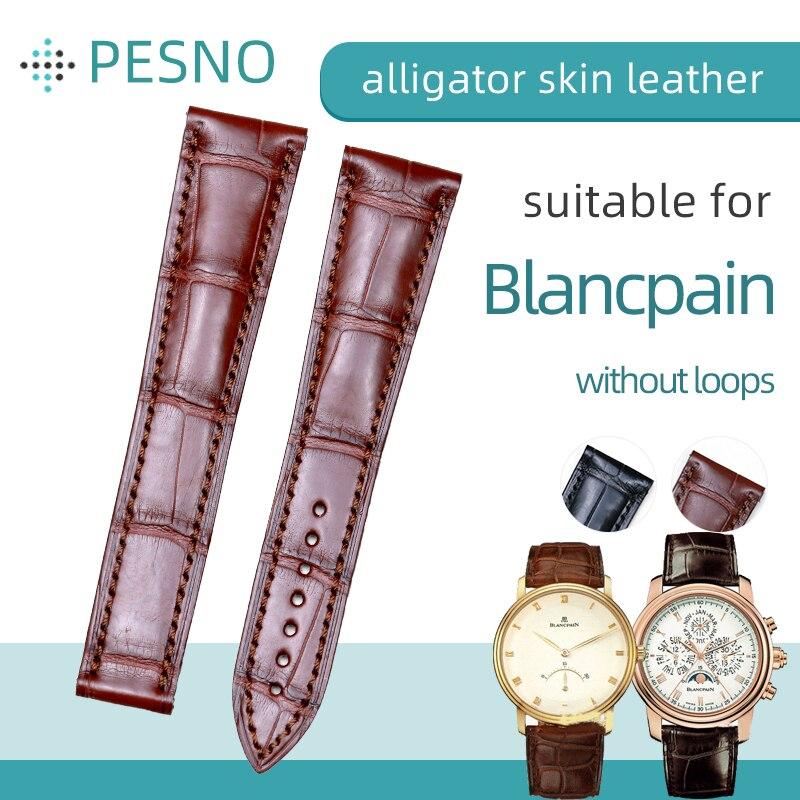 Compatível para Blancpain Pulseira de Relógio Couro de Crocodilo Pesno Villeret Brassus Couro Genuíno le 4063