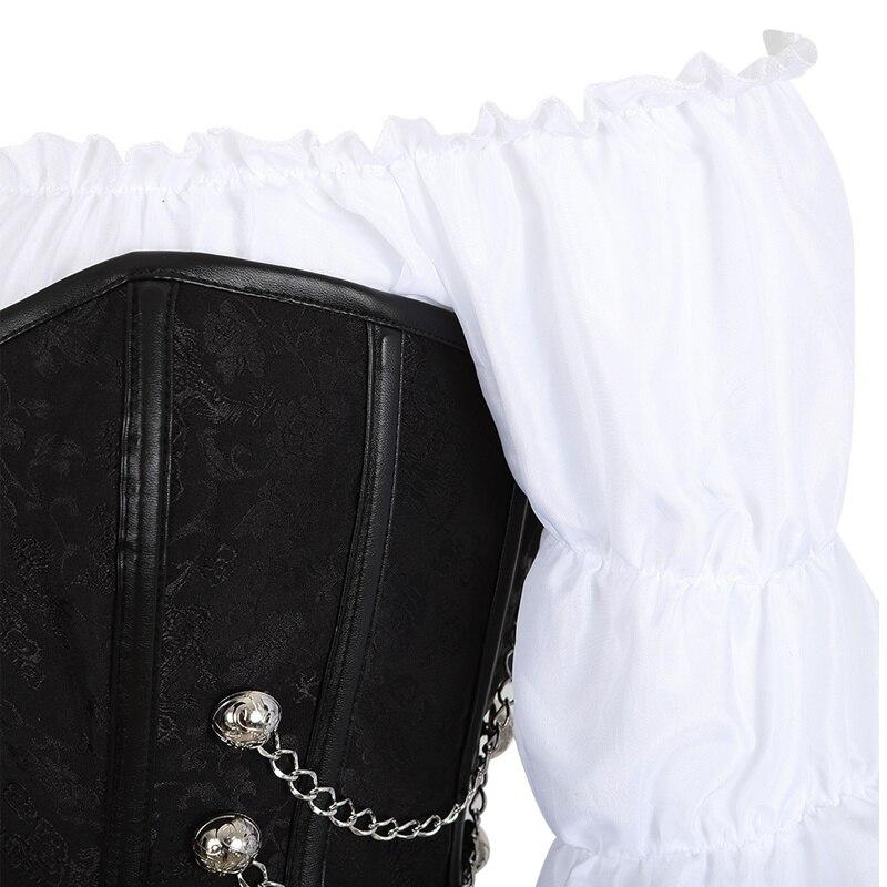 مشد تنورة من 3 قطع فستان من الجلد مشد steampunk ملابس داخلية قرصانة كورسيتو غير منتظمة ساخرة مقاس كبير أسود بني
