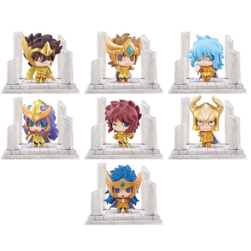 7 unids/lote Anime Saint Seiya PVC figuras de acción juguetes versión Q el Zodiaco dorado santa figura juguete de modelo de colección con caja