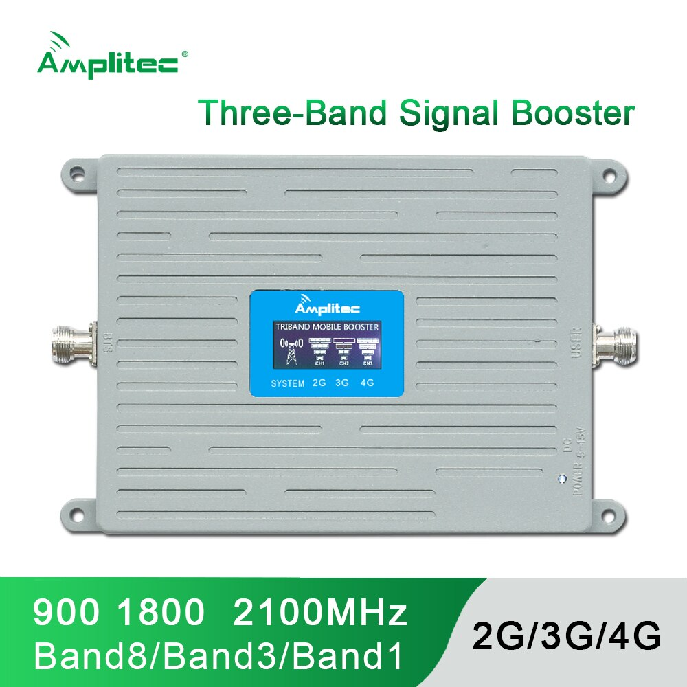 Amplitec GSM 2G 3G 4G Cell Phone Booster Tri Band Mobile Signal Amplifier LTE Cellular Repeater GSM DCS WCDMA 900 1800 2100 MHz