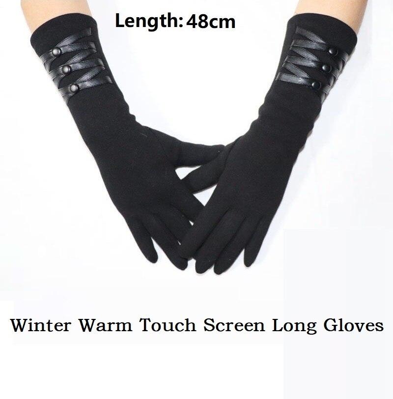 Модные Элегантные зимние теплые длинные перчатки для женщин длинные черные перчатки женские перчатки для сенсорного экрана и варежки